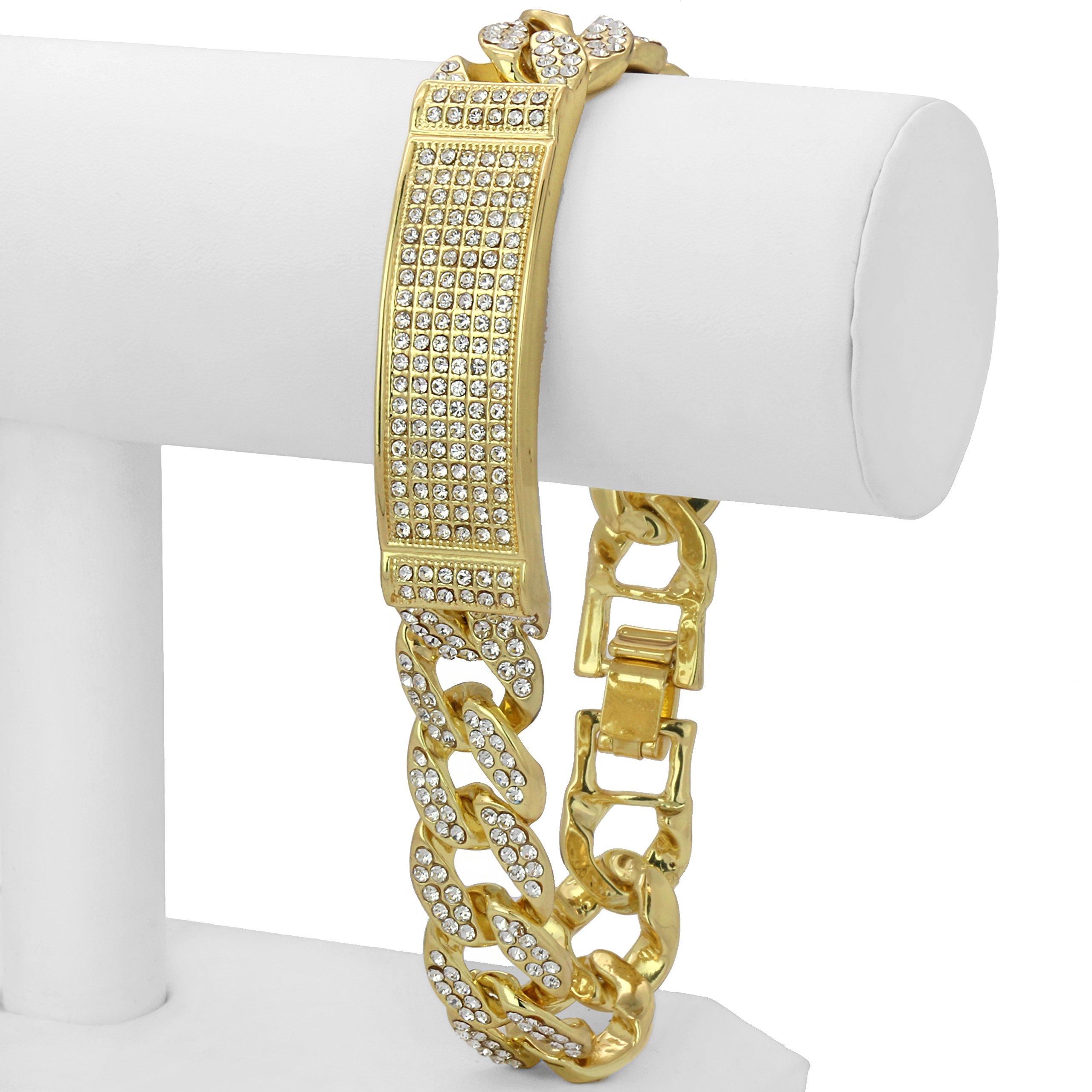 L & L Nation Gold Tone CUBAN Link ID Iced Out Clear Cz Stones Hip Hop Bracelet 9'' Inch PLUS Cz Earrings SET