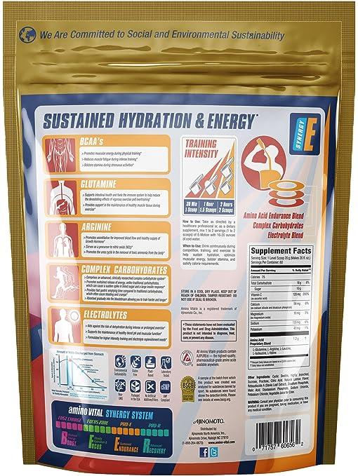 Amazon.com: Amino Vital Pro-E - Amino Acids (BCAAs, Glutamine, Arginine) + Electrolyte + Carbohydrate Bulk Powder Drink Mix, Lemon Splash, 60 Servings, ...