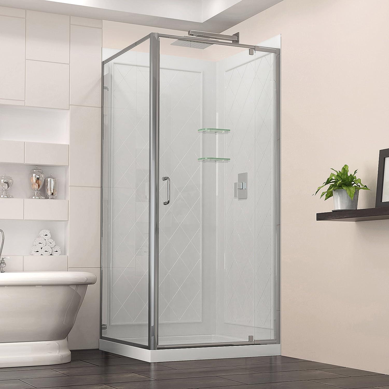 w kit with pivot shower door in chrome white acrylic base and backwalls amazoncom