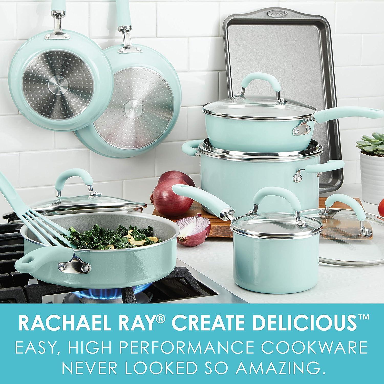 Rachael Ray 12146 13-Piece Aluminum Cookware Set, Light Blue Shimmer