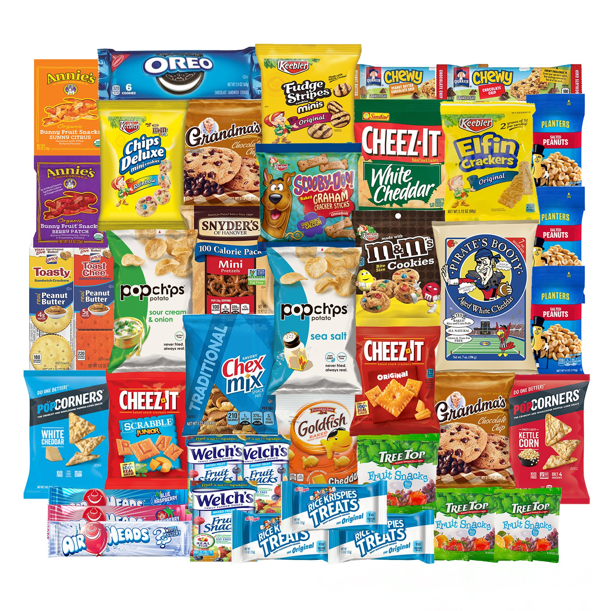 SnackBOX Care Package for College Students, Finals, Office, Camp and Back to School - Including Over 3 lbs of Chips, Cookies and Candy! (40 Count) by SB SnackBOX