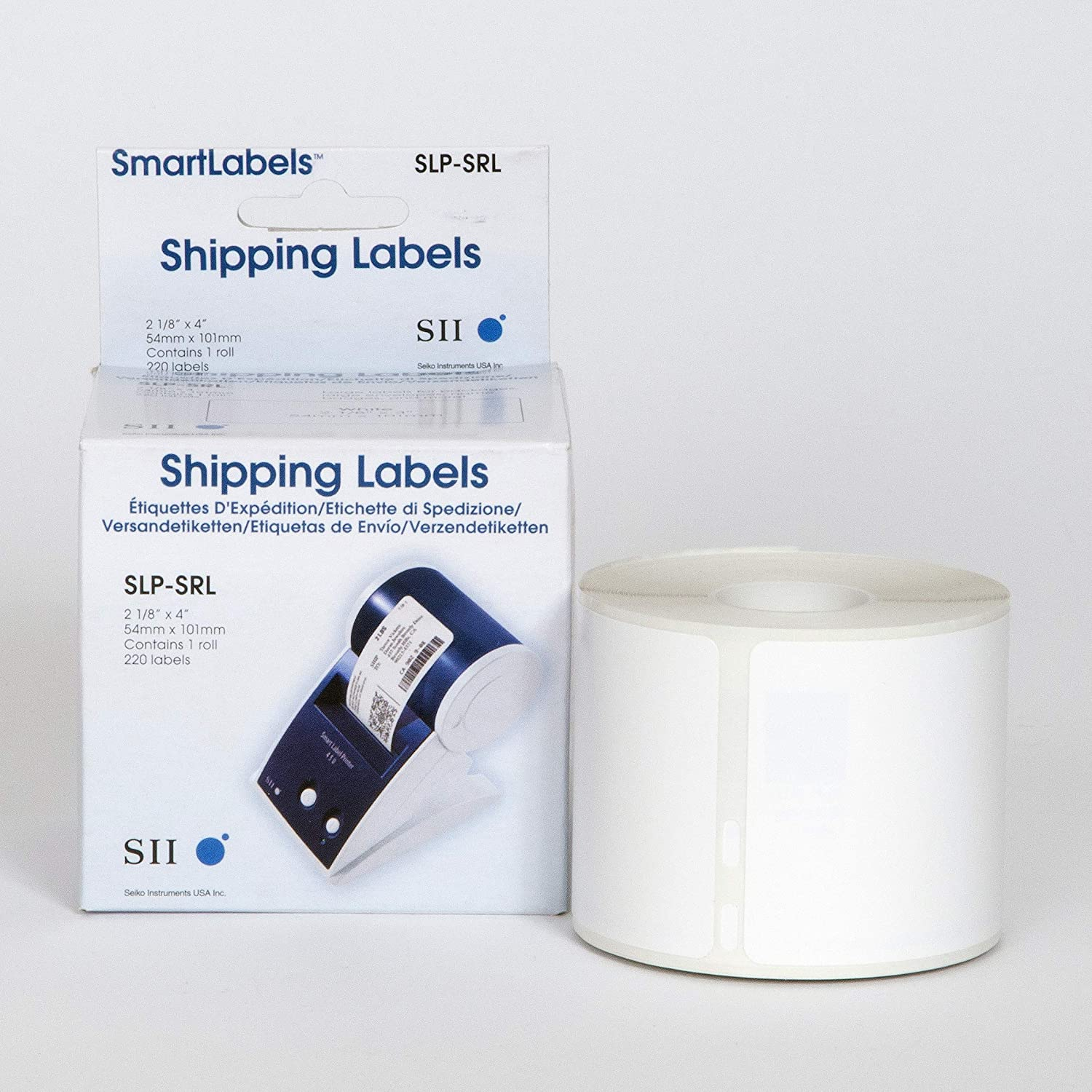 White Shipping Labels for Smart Label Printer - SLP-SRL | Direct Thermal Printing | Text, Barcodes, Logos and Image | High Speed & High Performance Portable Print | 1roll per Box, 220 Labels per roll: Office Products