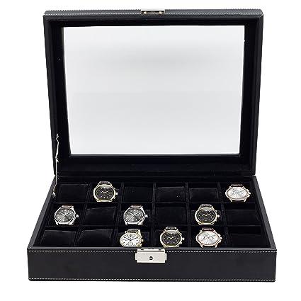 18 piezas de cuero sintético negro expositor de relojes de los hombres de almacenamiento caja de