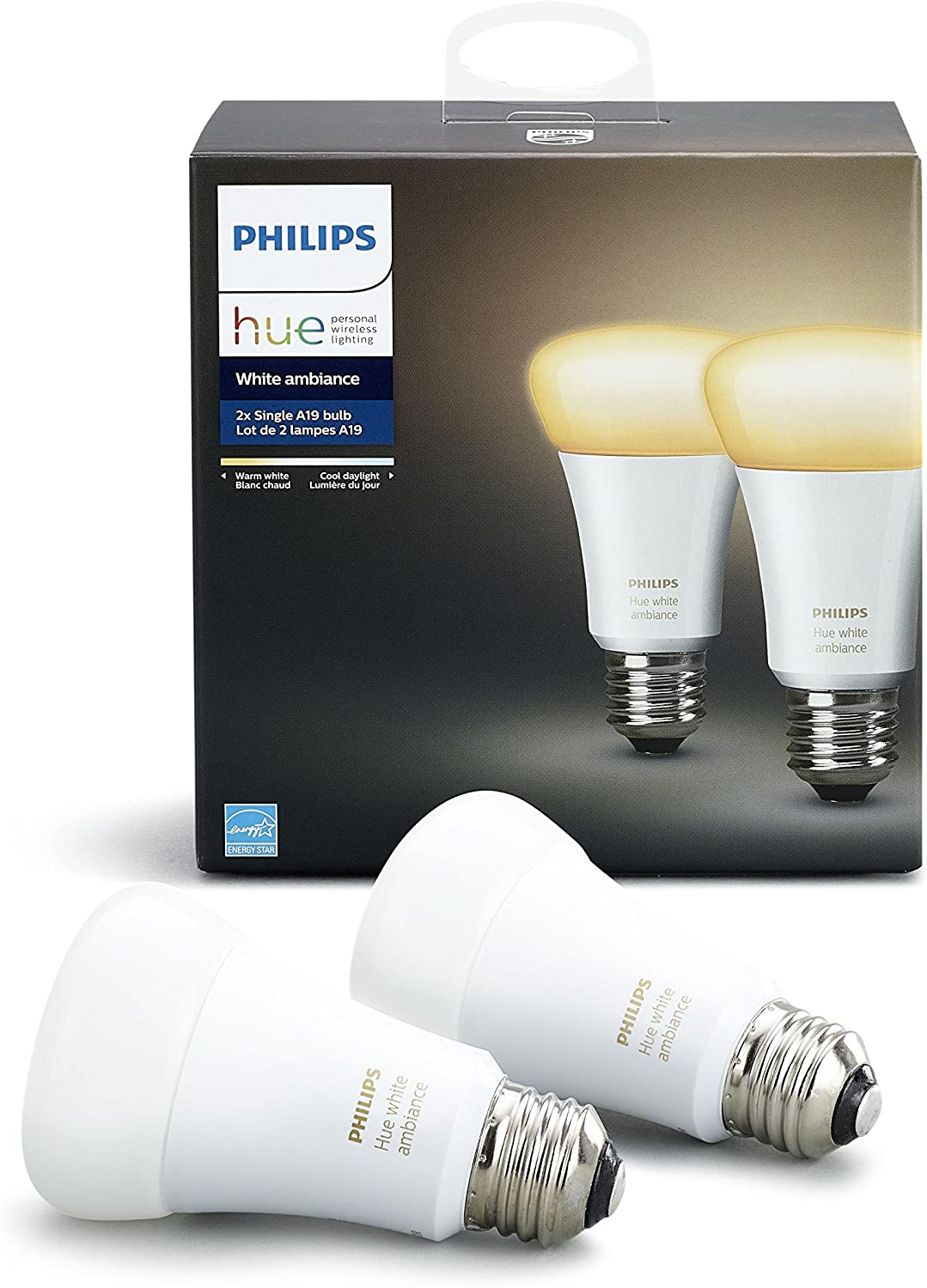 Hue White Ambiance A19 Wi-Fi Smart LED Bulb (2-Pack)