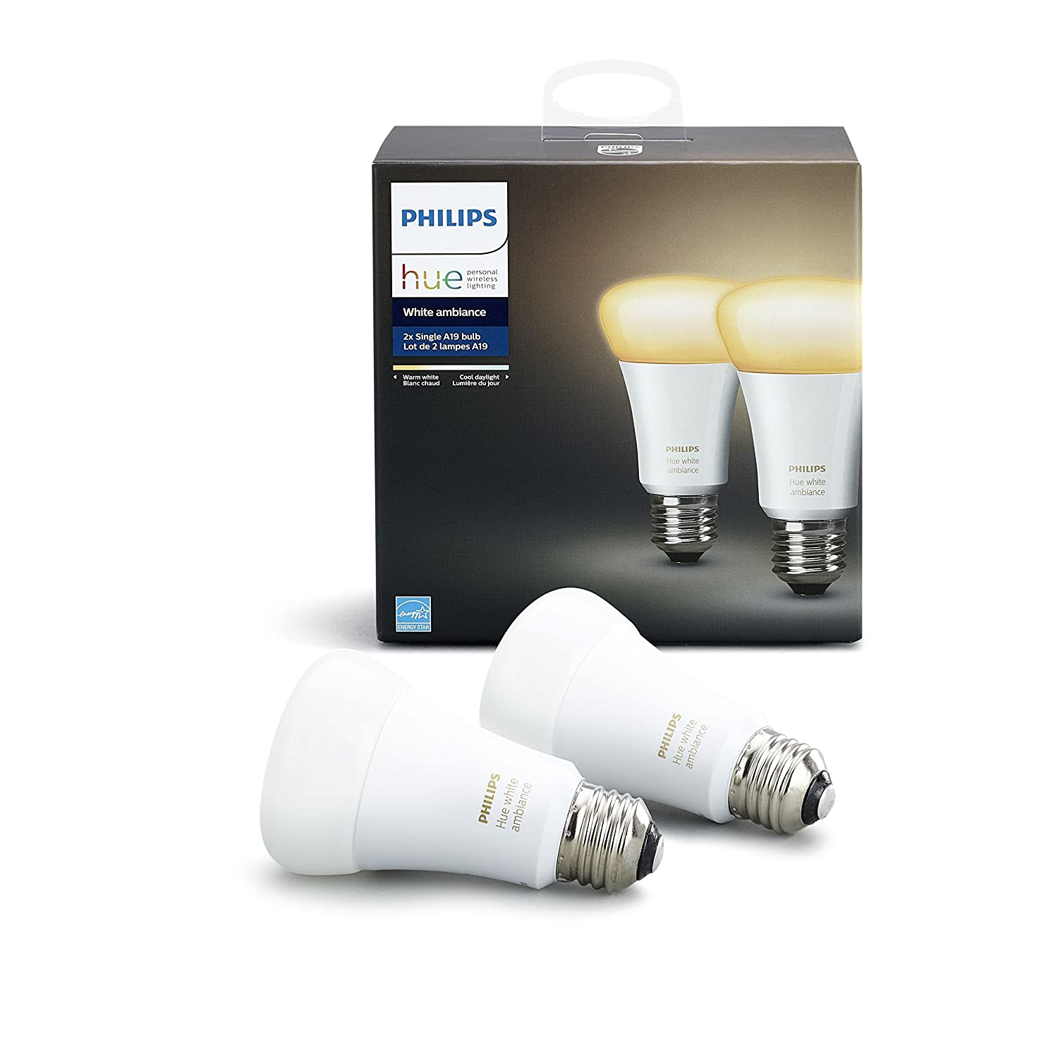 Philips Hue 2 Pack White Ambiance 60W Equivalent Dimmable LED Smart Bulb Works with Alexa Apple Homekit and Google Assistant