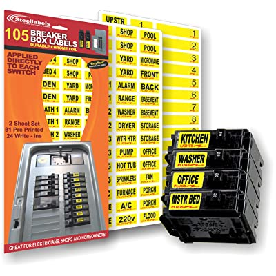 """Circuit Breaker Decals - 105 Tough vinyl labels for Breaker Panel Boxes - Great for Home or Office - Apartment Complexes and Electricians - Placed directly on Switch or Fuse - Bright """"Easy Read"""" Color: Home Improvement"""
