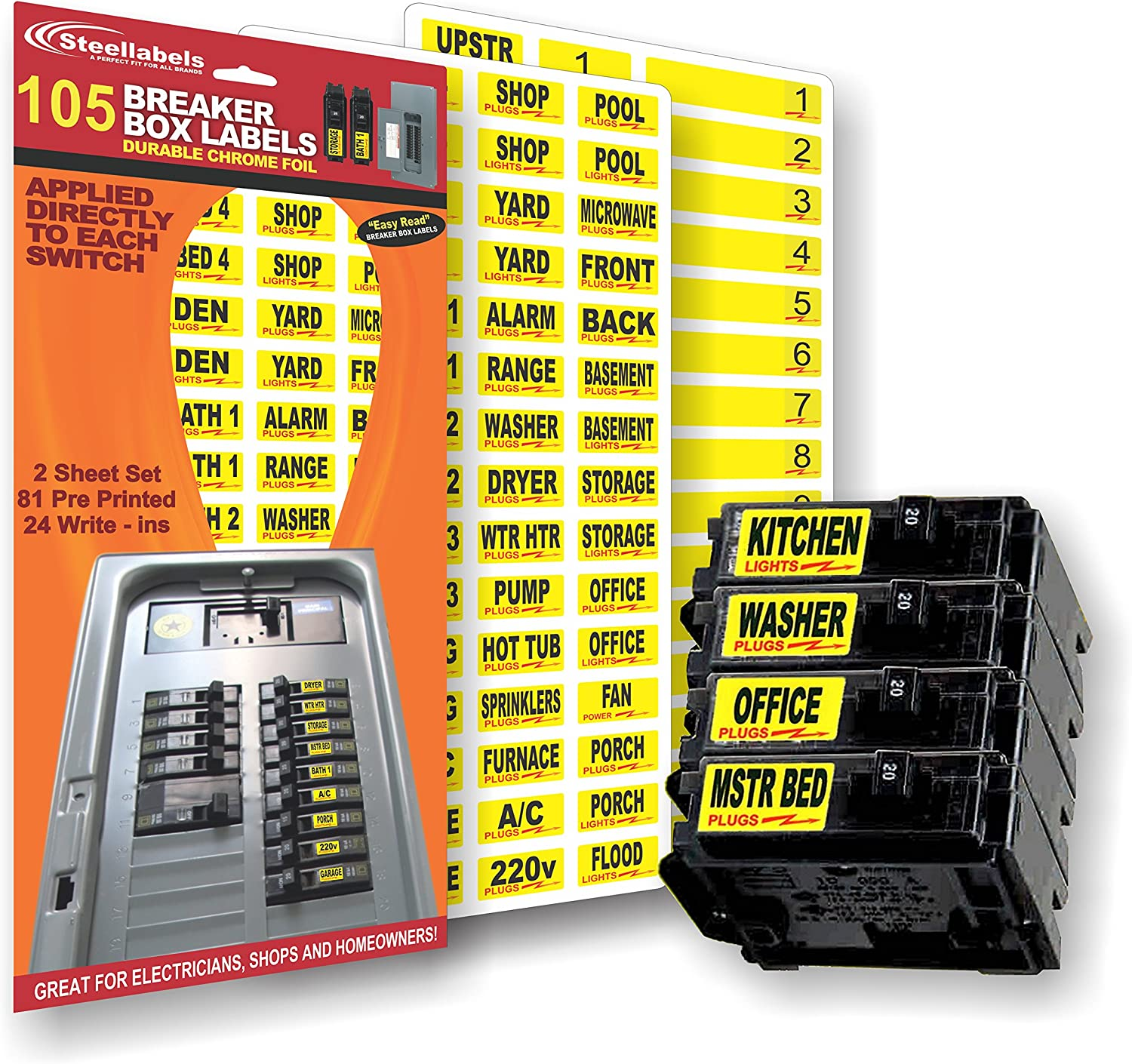 Amazon.com: Circuit Breaker Decals - 105 Tough vinyl labels for Breaker  Panel Boxes - Great for Home or Office - Apartment Complexes and  Electricians - Placed directly on Switch or Fuse -Amazon.com