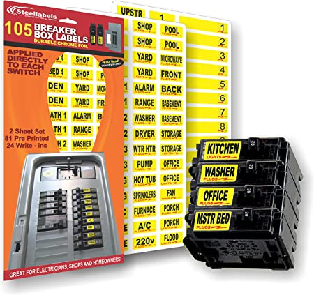 amazon.com: circuit breaker decals - 105 tough vinyl labels for breaker  panel boxes - great for home or office - apartment complexes and  electricians - placed directly on switch or fuse -  amazon.com