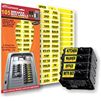 Circuit Breaker Decals - 105 Tough vinyl labels for Breaker Panel Boxes - Great for Home or Office - Apartment Complexes…