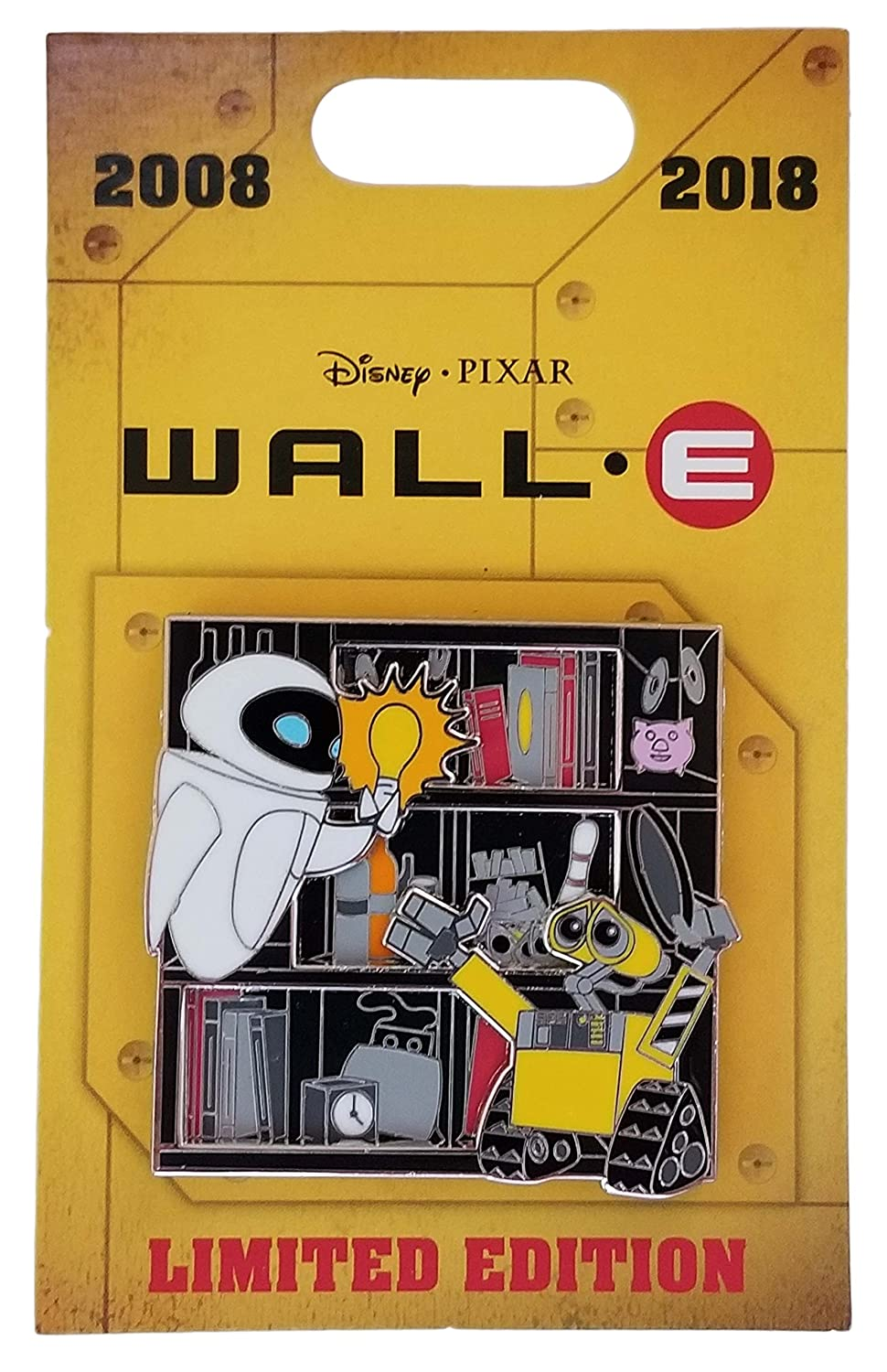 Disney Pin - Wall-E and Eve - 10th Anniversary - Light Bulb