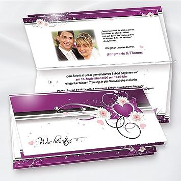 TATMOTIVE Lila Herzen Einladungskarten Für Hochzeit Selbst Bedruckbar, 10  Sets Mit Briefumschläge Von Tatmotive