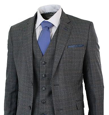 Herrenanzug 3 Teilig Grau Blau Vintage Retro Design Kariert Tailored ... bc13209a70