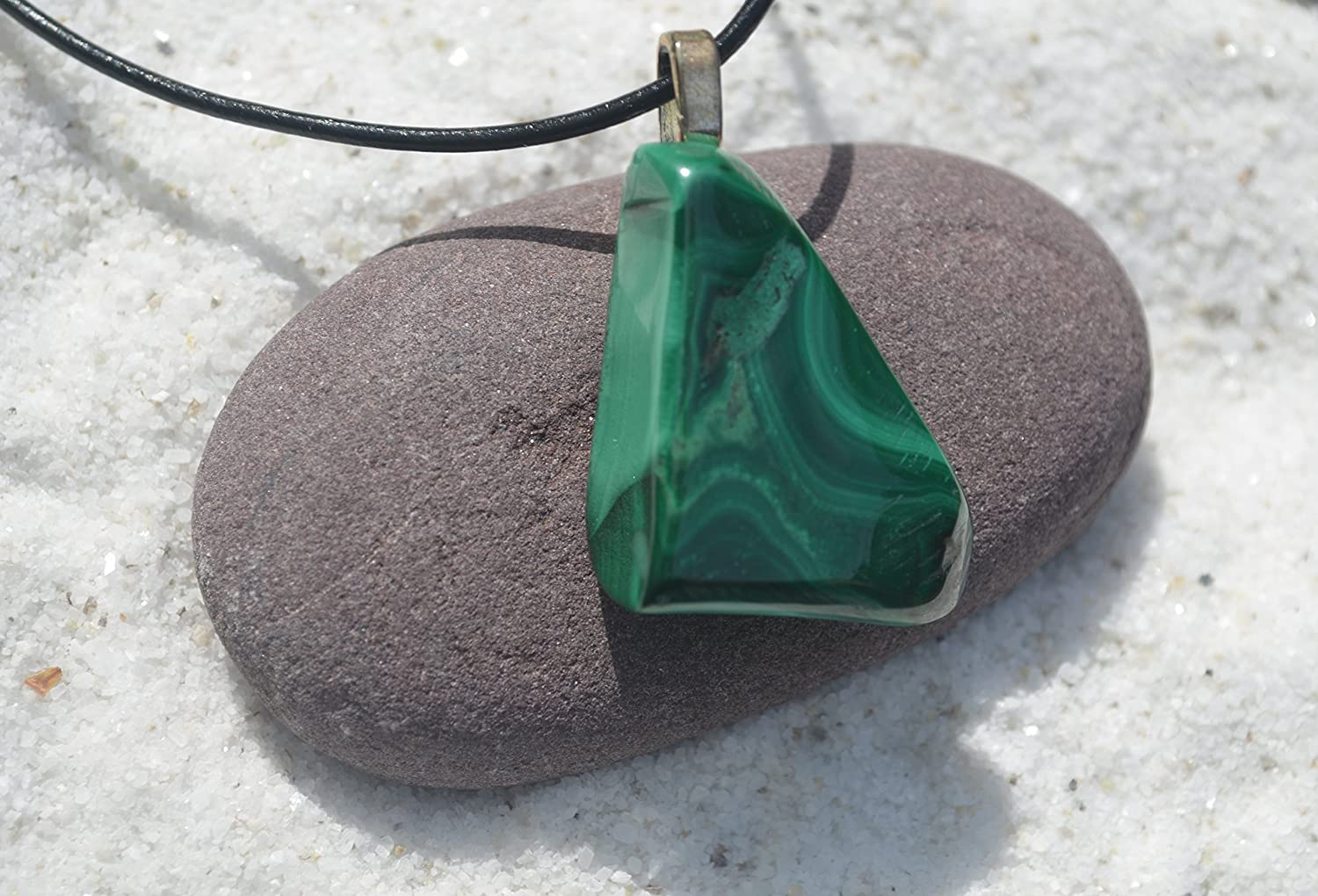 32 x 14 mm  1.26 x 0.55 inch Malachite on leather strap  cotton cord necklace -- stone size