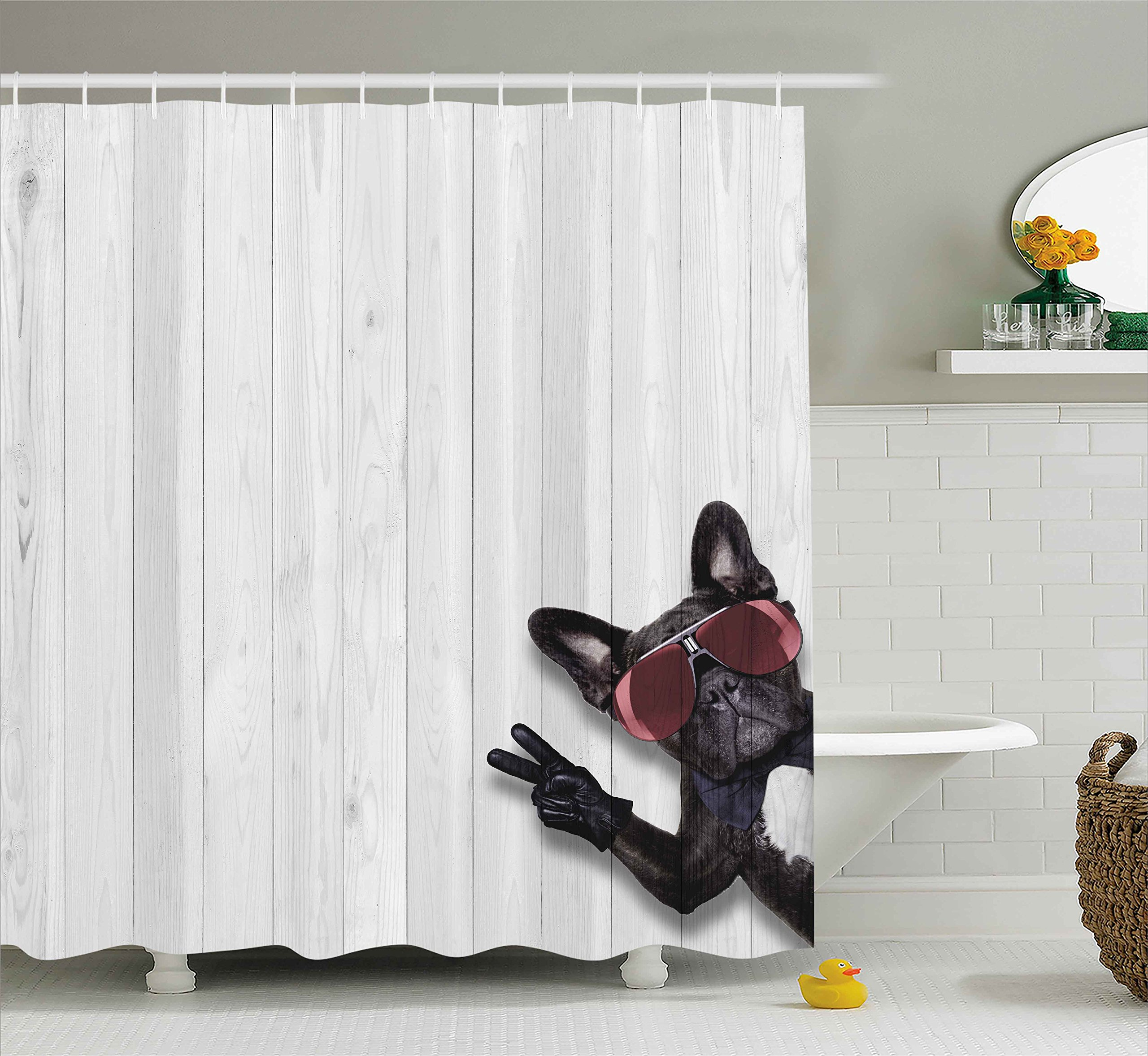 Ambesonne Animal Decor Shower Curtain, Cool Husky Dog with Sunglasses Making Peace Sign with Paws Art Print, Fabric Bathroom Decor Set with Hooks, 70 inches, Light Grey Black