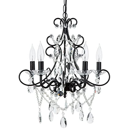 Theresa black crystal chandelier classic 5 light swag plug in glass theresa black crystal chandelier classic 5 light swag plug in glass pendant wrought iron mozeypictures Gallery