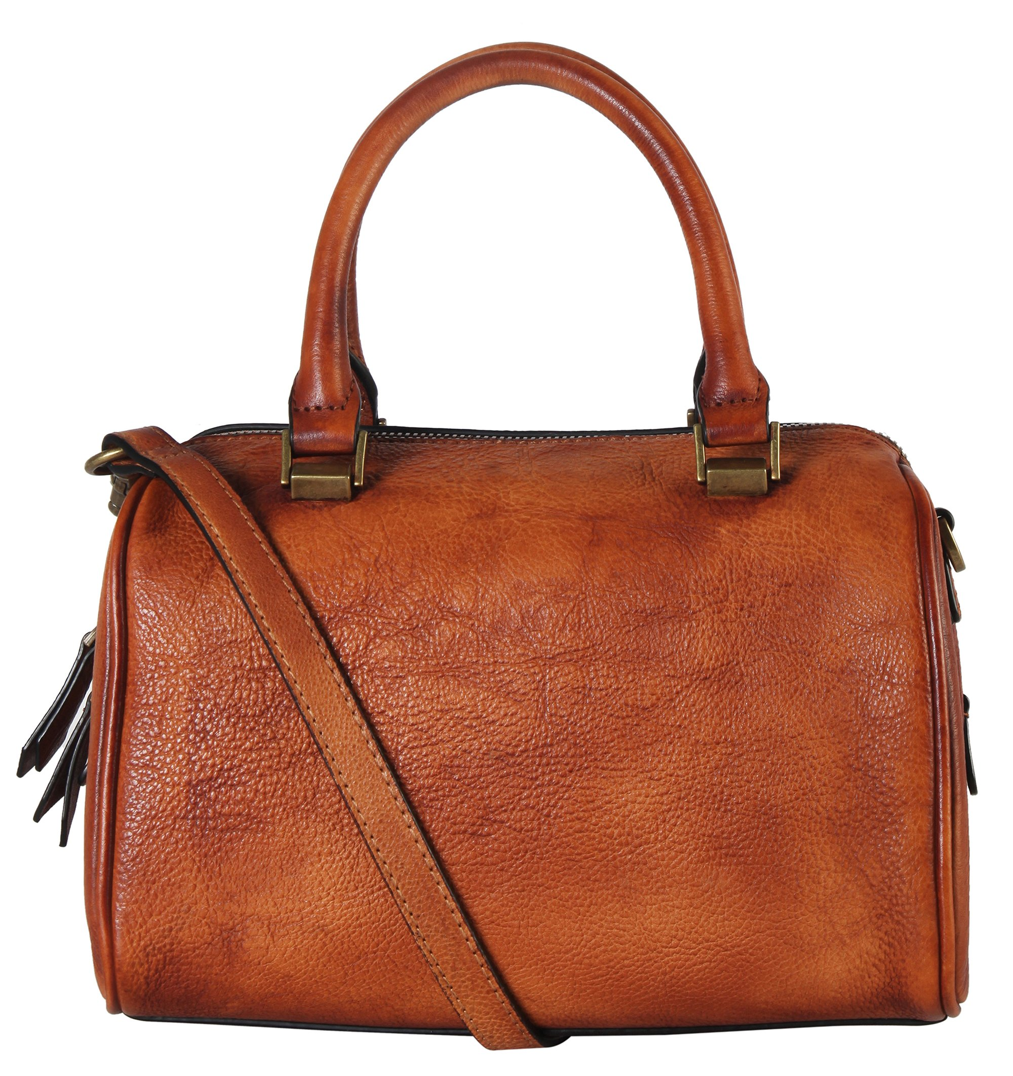 Diophy Doctor-Style Genuine Leather Zipper Closure Tote Handbag 160419 Brown