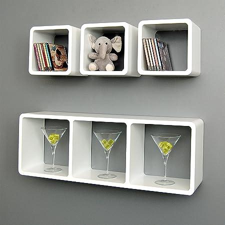 4 set xl lounge cube shelf design retro wall shelf stand shelf hanging shelf white matt amazoncouk musical instruments