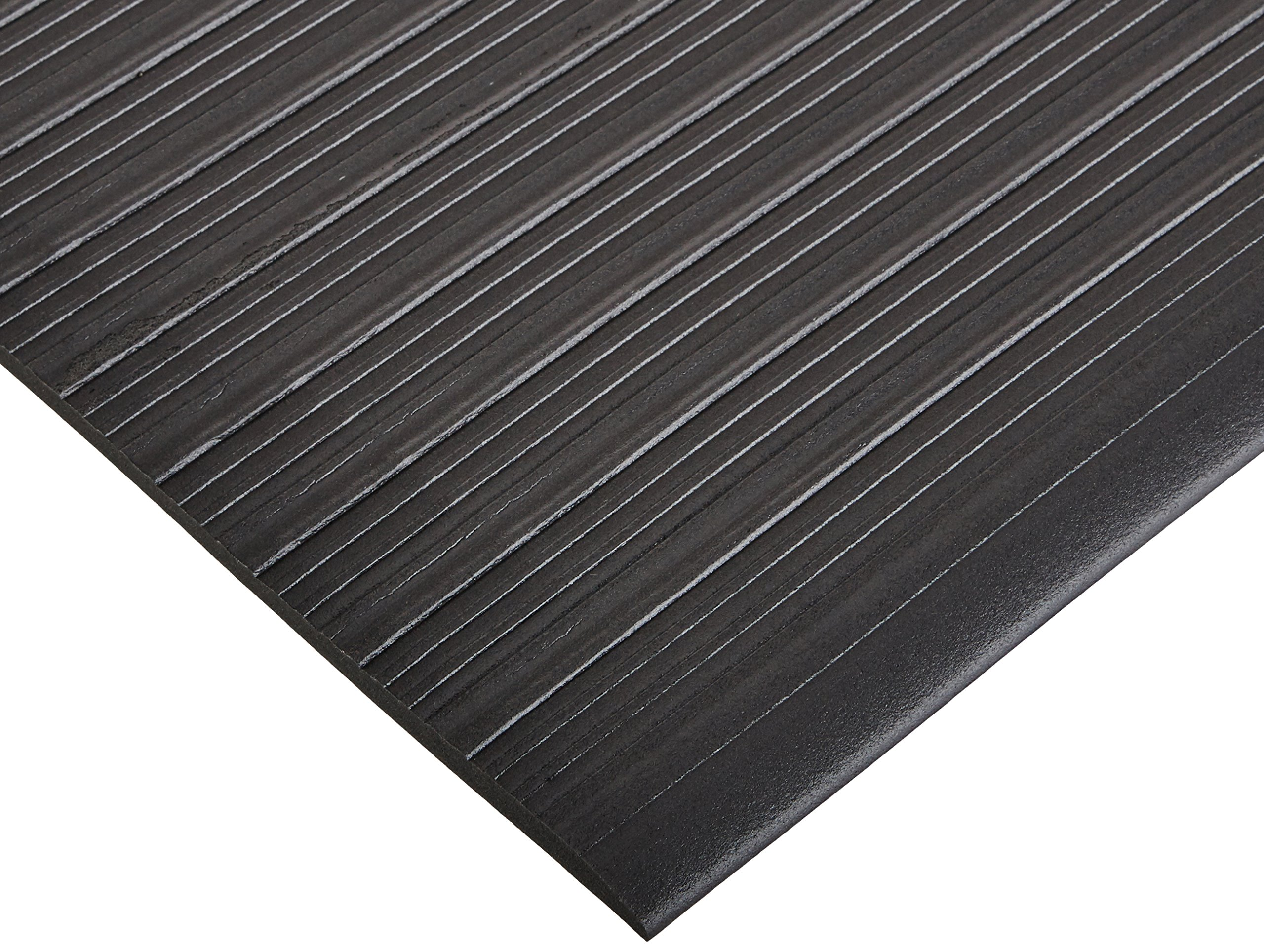 Bertech Anti Fatigue Vinyl Foam Floor Mat, 3' Wide x 10' Long x 3/8'' Thick, Ribbed Pattern, Black (Made in USA)