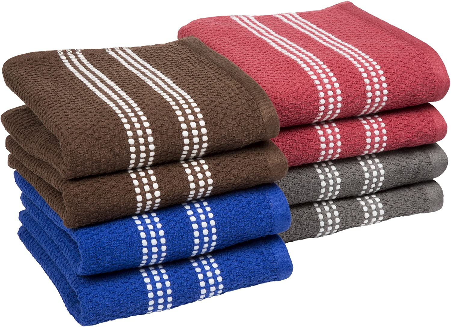 Lavish Home 100% Combed Cotton Dish Cloths Pack-Absorbent Popcorn Terry Weave-Kitchen Dishtowels, Cleaning/Drying (8 Pack-Multiple Colors)