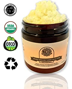 Organic Neem and Tumeric Facial Scrub by Oslove Organics-USDA certified, brightens and evens skin tone.