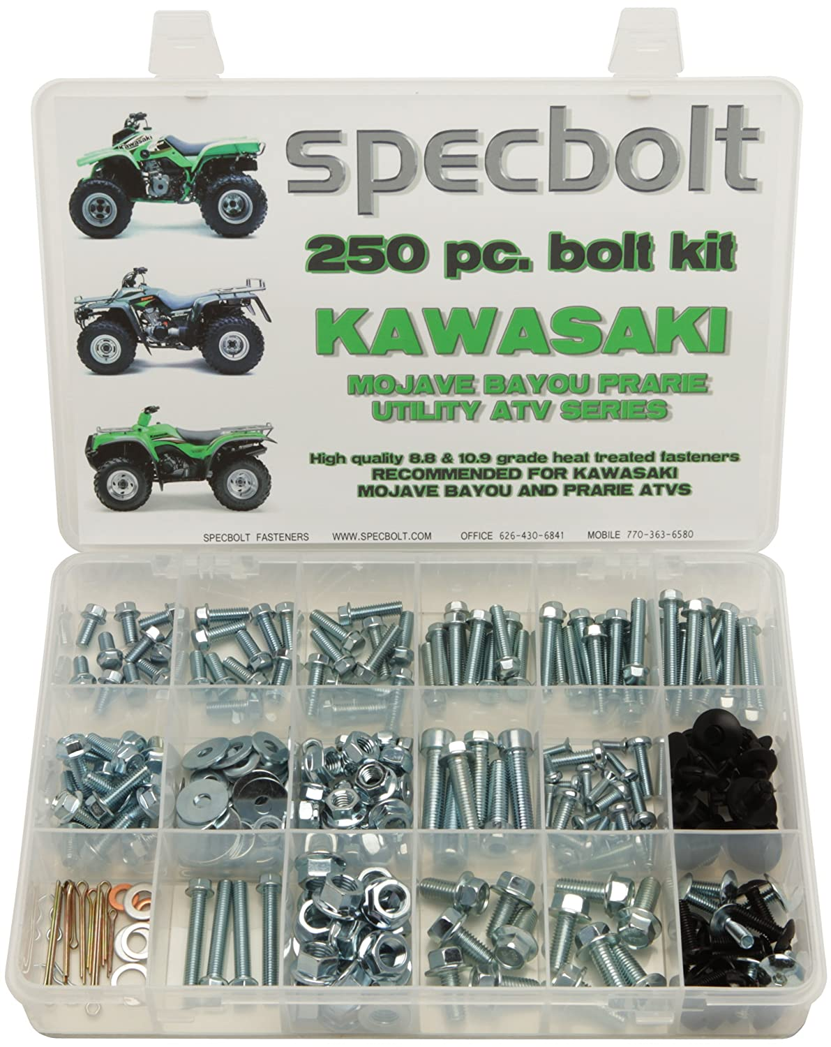 250pc Specbolt Kawasaki Utility ATV Bolt Kit for KLT KSF KLF KEF KVF KSV &  KLF models Maintenance & Restoration OEM Spec Fasteners Quad BRUTE FORCE  BAYOU ...
