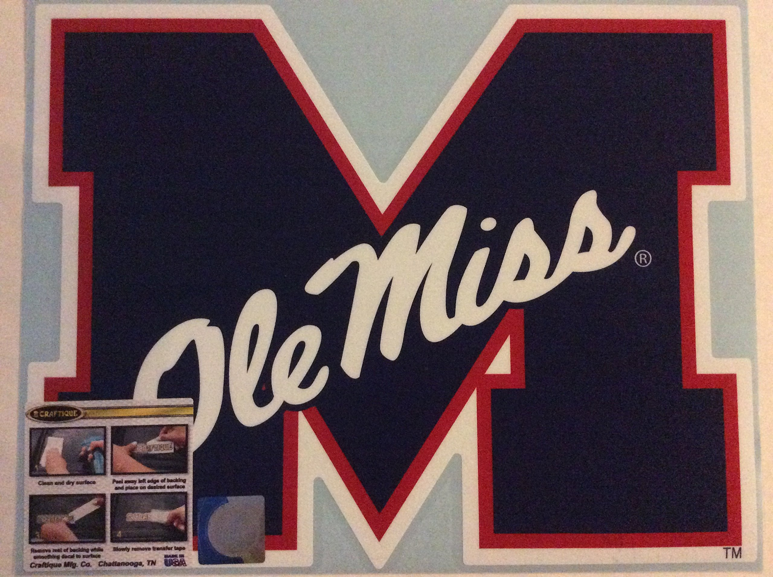 Ole Miss Rebels, Large Die Cut Vinyl Decal, Cornhole Boards, Auto