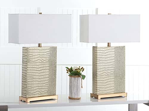 Safavieh Lighting Collection Joyce Cream and Gold Faux Alligator 27.75-inch Table Lamp Set of 2