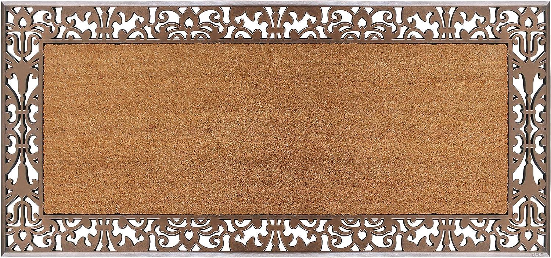 "A1 Home Collections Door Mat Extra Large Rubber and Coir Outdoor Welcome Mat Doormat, 30"" x 60"", Bronze"