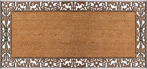 A1 Home Collections A1HOME200112 Rubber and Coir Floral Doormat, 30 X60 , Bronze Paisley Border