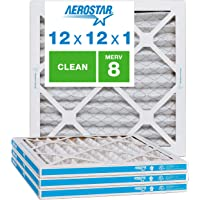 """Aerostar Clean House 12x12x1 MERV 8 Pleated Air Filter Made in the USA Actual Size 11 3/4""""x11 3/4""""x3/4"""" 4 Pack, White"""