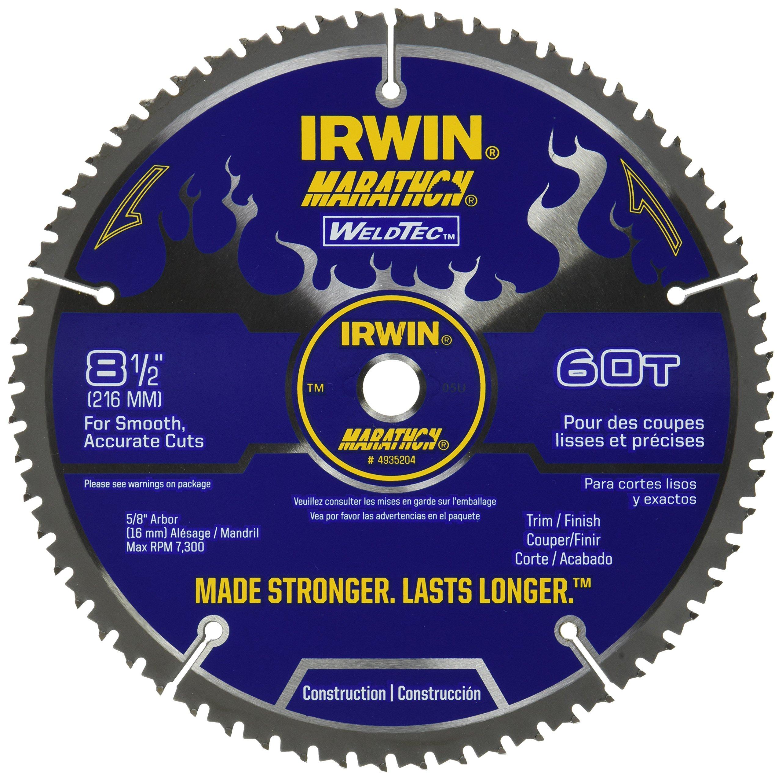 IRWIN Tools MARATHON WeldTec Circular Saw Blade, 8-1/2-inch, 60T (4935204) by IRWIN