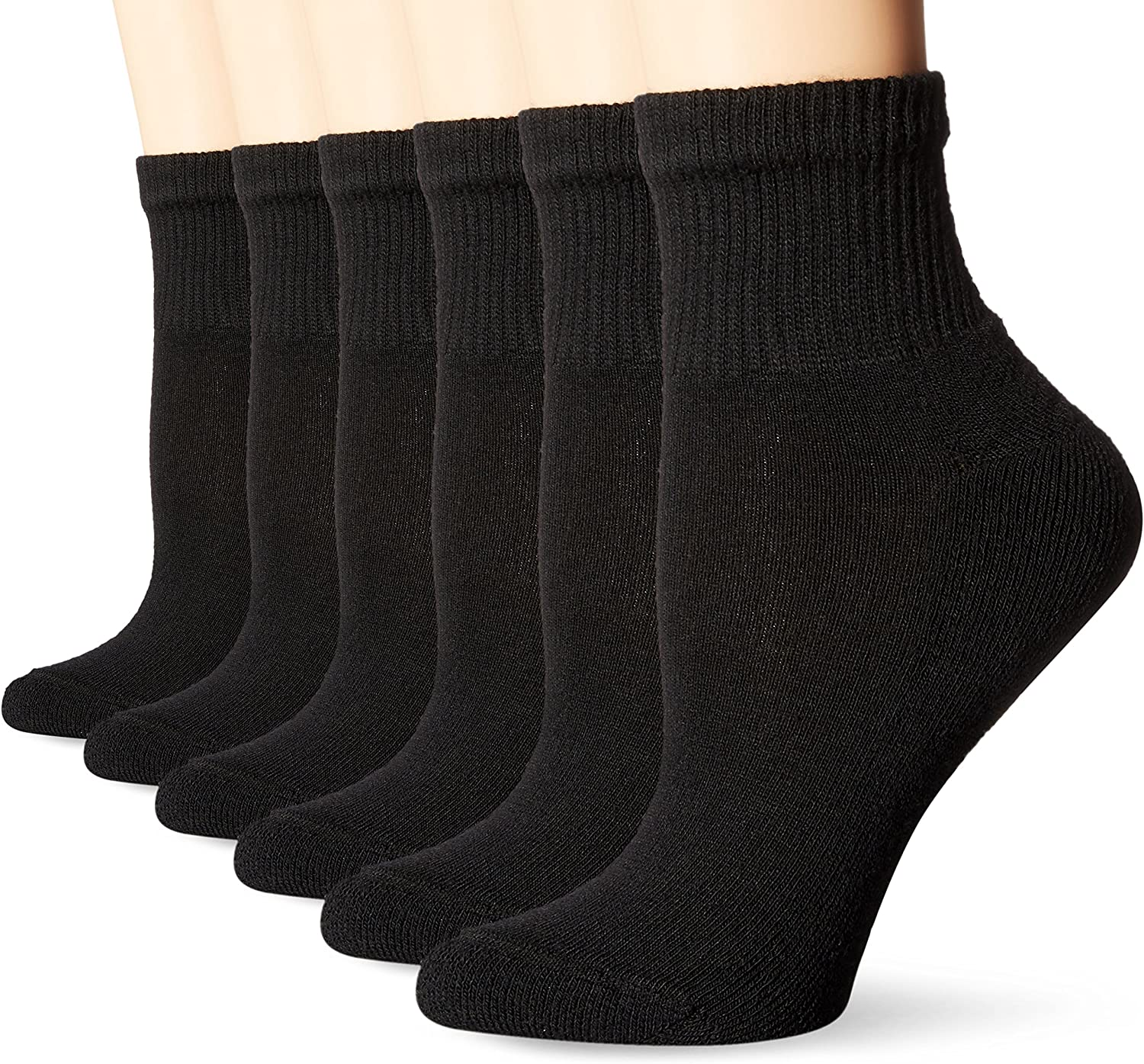 Hanes Crew Socks 6-Pack Women/'s Ultimate ComfortSoft Comfort Toe Black or White