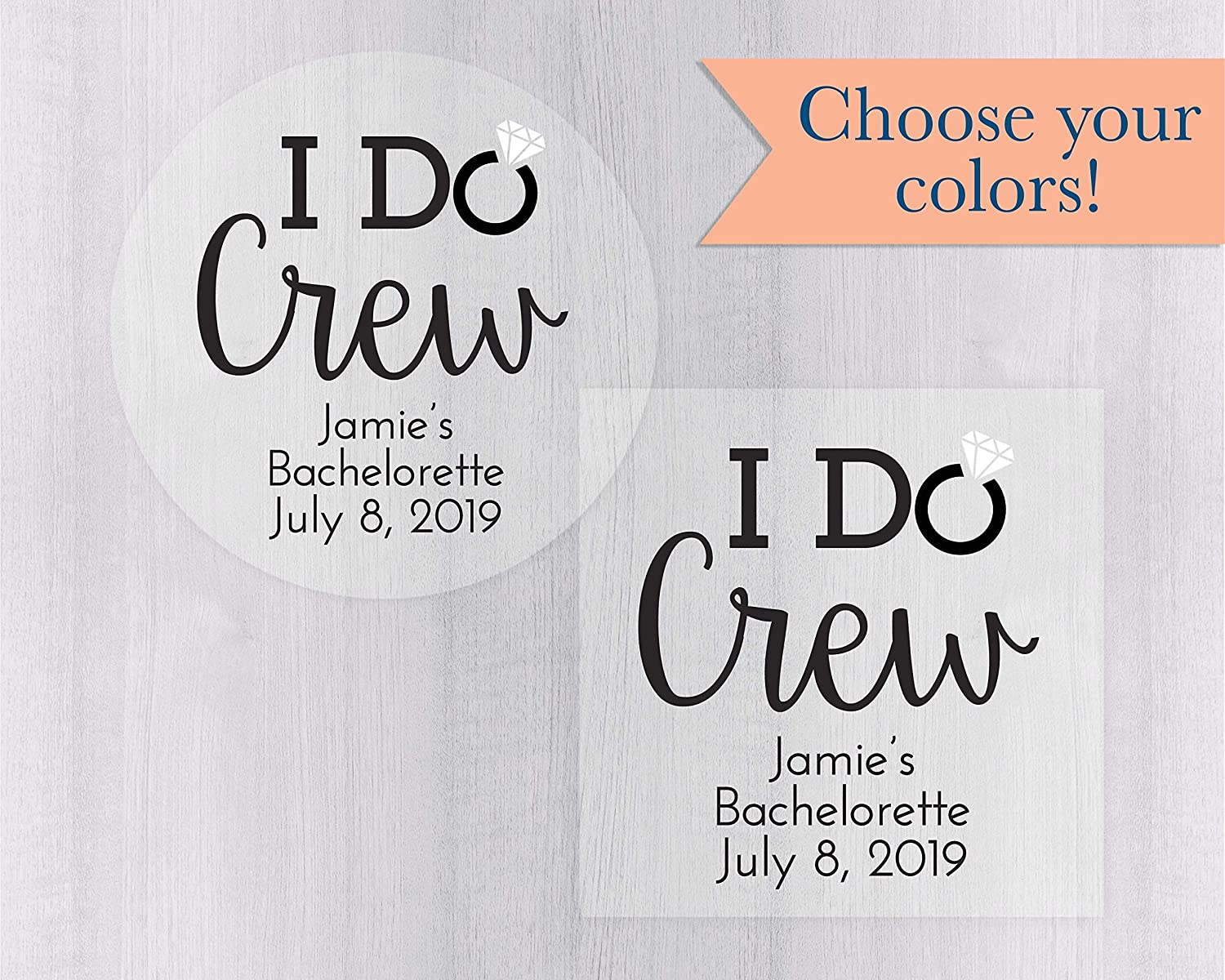Amazon com i do crew bachelorette party stickers clear bachelorette party labels personalized transparent labels 192 c handmade