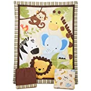 Bedtime Originals Jungle Buddies 3 Piece Crib Bedding Set, Brown/Yellow