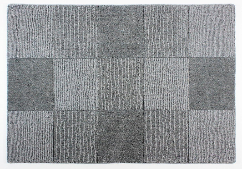 Flair Rugs Wool Squares - Wollteppich mit Quadratmuster - Grau 150x210
