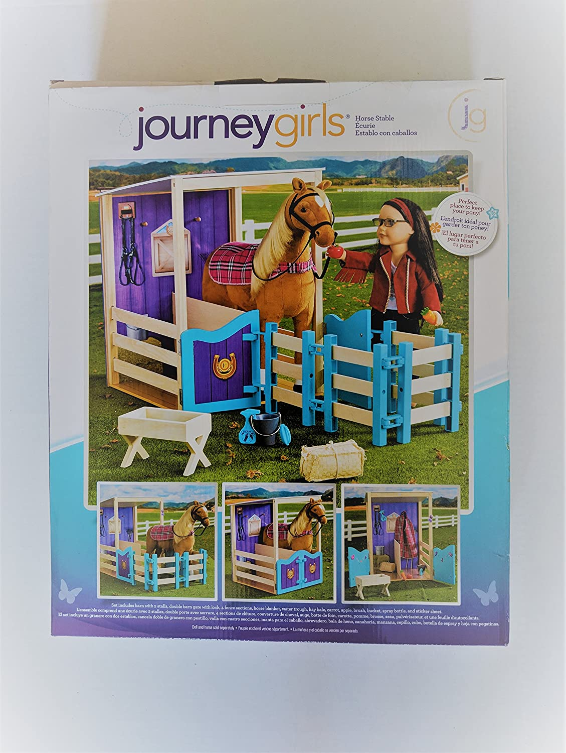 Amazon.com: Journey Girls Horse Stable with 2 Stalls, Double Barn Gate with Lock, (Horse NOT Included) 4 Fence Sctions, Horse Blanket, and Water Trough: ...