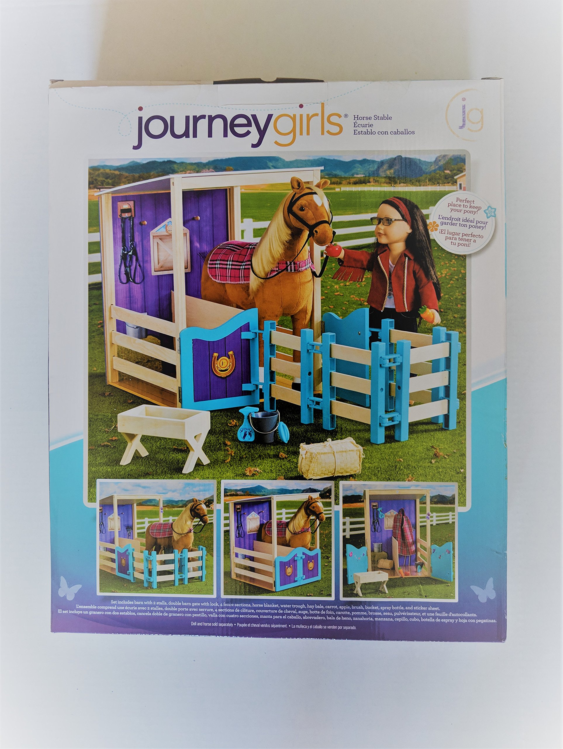Journey Girls Horse Stable with 2 Stalls, Double Barn Gate with Lock, (Horse NOT Included) 4 Fence Sctions, Horse Blanket, and Water Trough