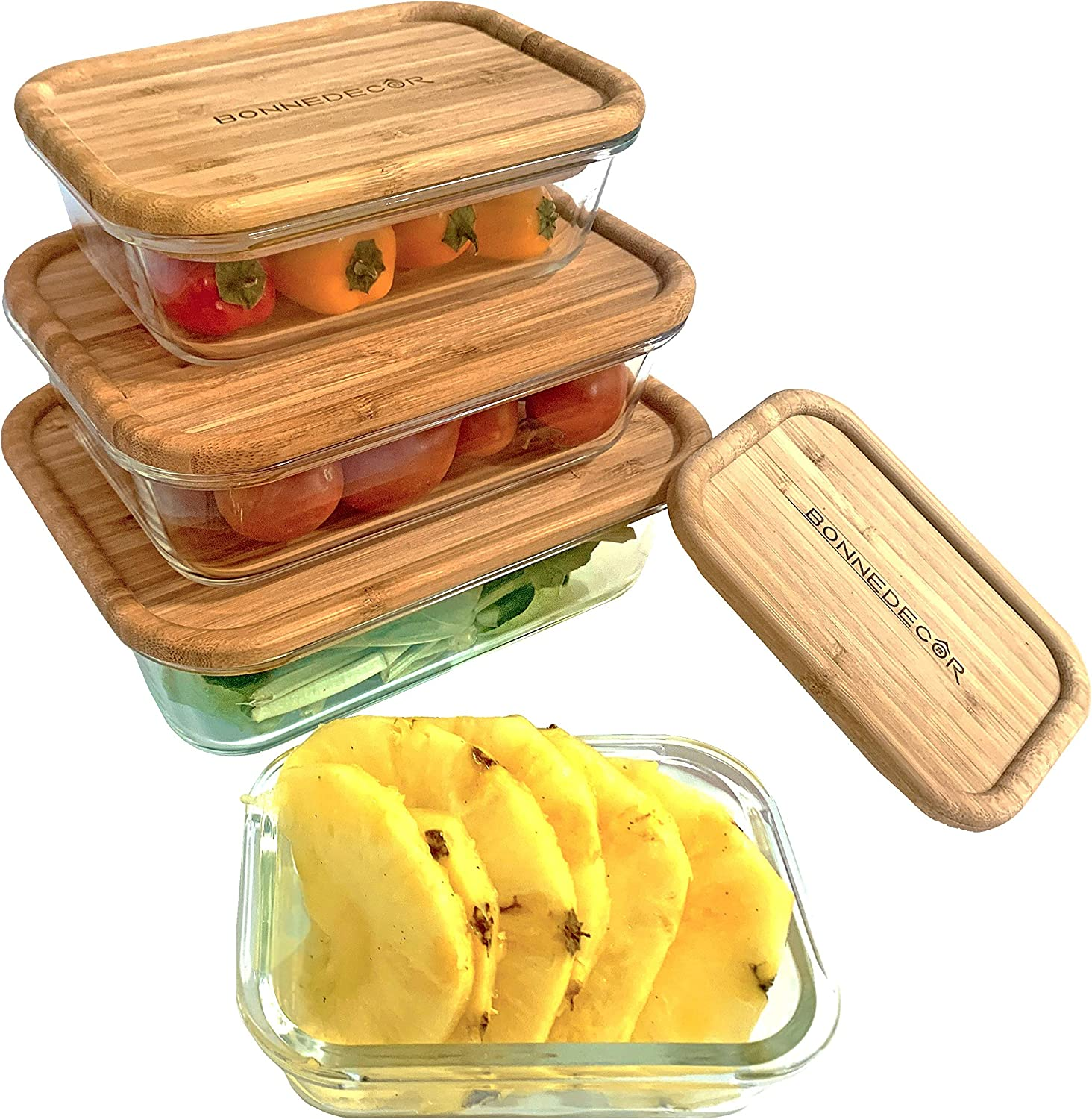Bamboo Food Containers - Food Glass Containers with Bamboo Lids Eco-Friendly Food Storage Large And Small Boxes | Perfect For Meal Prep Food Container | Bpa-Free Kitchen Items Set Of 4 - (Mixed)