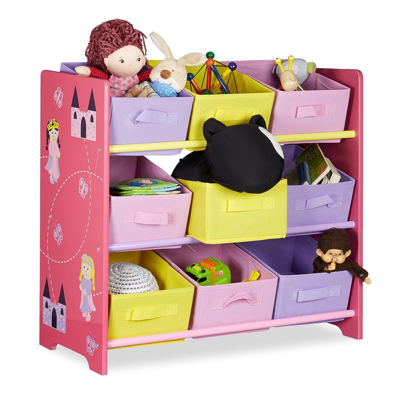Relaxdays Meuble de rangement jouets enfant FUNNY motifs pirncesse commode bois - 9 paniers cube de rangement en tissu HxlxP: 63 x 65 x 30 cm, rose 10020352 rangement-jouet-bac rangement-jouet-bebe rangement-jouet-bois