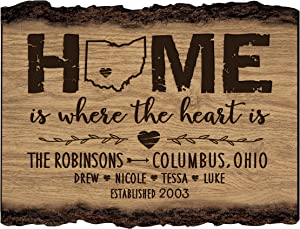 LifeSong Milestones Personalized Bark Wood Sign Home is Where The Heart is Family Established with Last Name, First Names and Date Established 12x9 in.