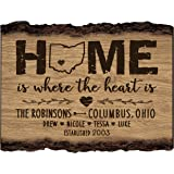Personalized Bark Wood Sign Home is where the heart is Family Established with Last Name, First Names and Date Established by Dayspring Milestones 12x9 in.