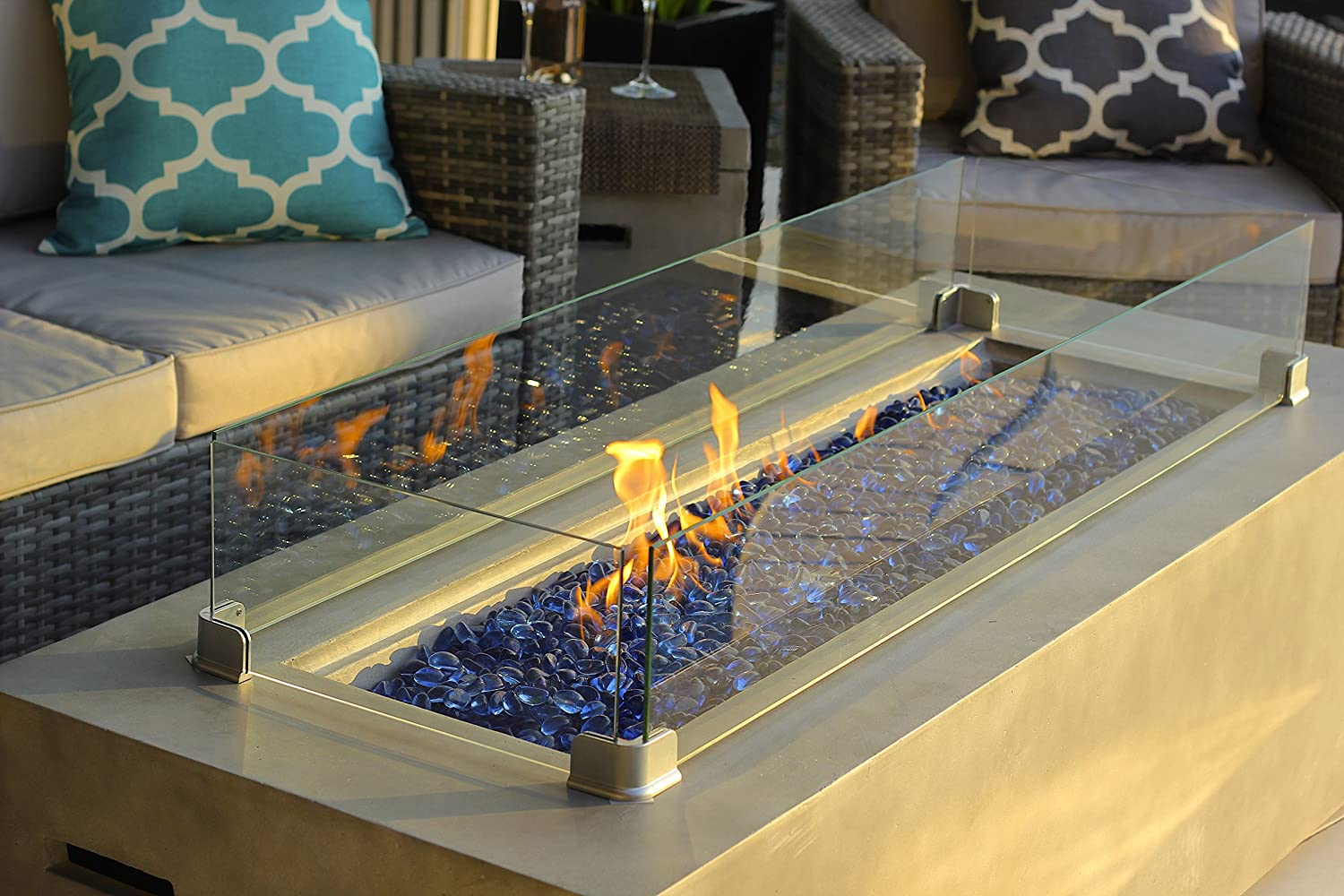 AKOYA Outdoor Essentials 60 Rectangular Modern Concrete Fire Pit Table w//Glass Guard and Crystals in Gray Cobalt Blue
