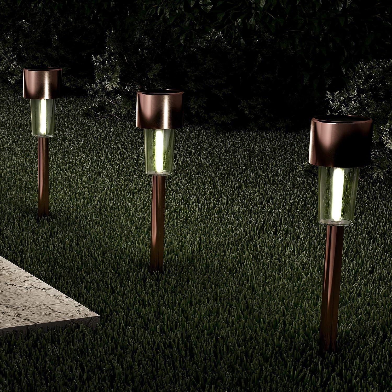 "Pure Garden 50-LG1069 Solar Path Lights-12.2"" Stainless Steel Outdoor Stake Lighting for Garden, Landscape Patio, Driveway, Walkway-Set of 12 (Bronze)"