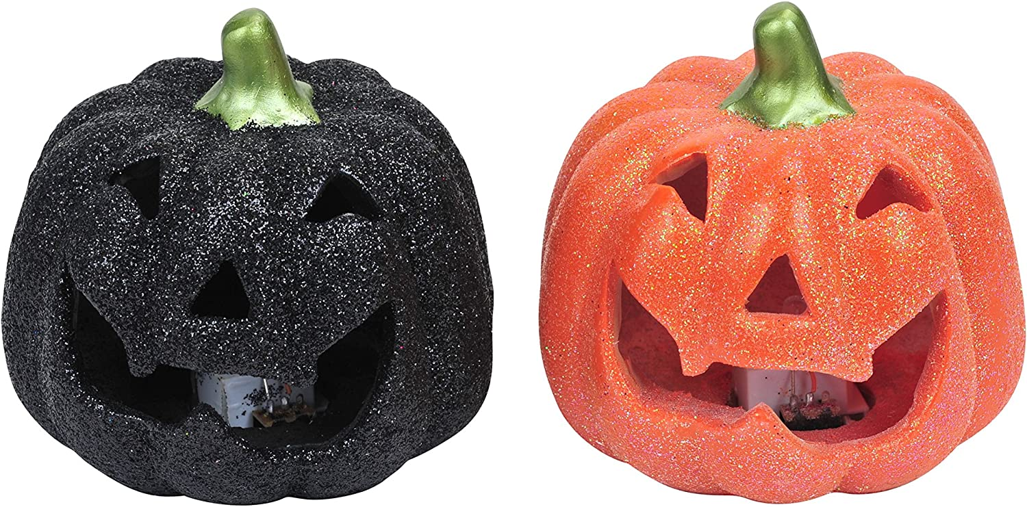 Family Holiday Halloween Jack O Lantern Glitter Pumpkin with Led Light Up Table Topper Trick Or Treat Centerpiece Party Decor Set of 2