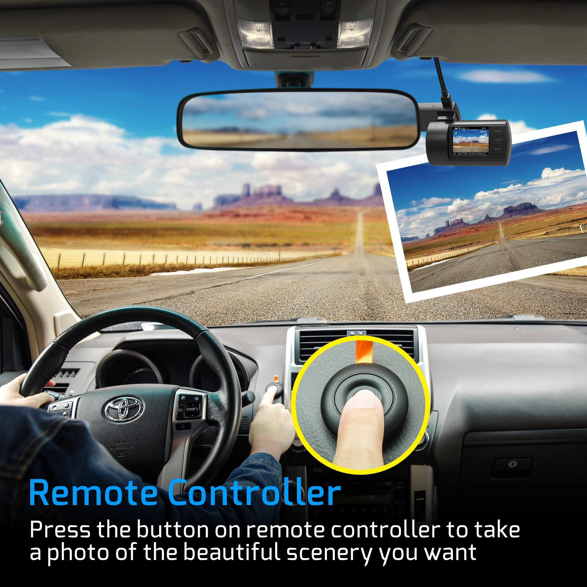 Dual Dash Cam, Veckle Mini 0906 Dual Channel 1080P FHD Dashboard Camera Recorder with GPS, CPL Filter, Sony Night Vision Exmor Sensor, 7 Lens Wide Angle 1.5 inch LCD, Loop Recording Dash Cam for Car by Veckle (Image #5)