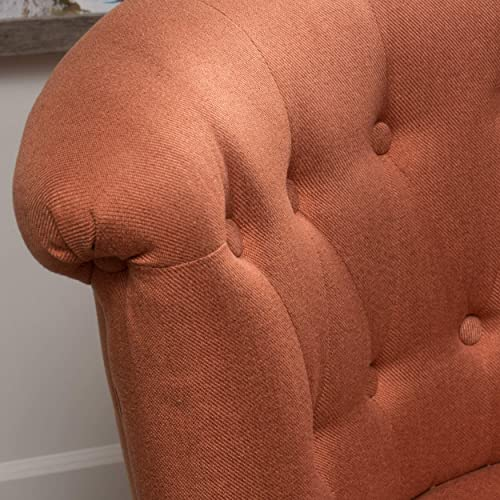 Christopher Knight Home Donna Mid Century Fusion Orange Button Tufted Fabric Chair