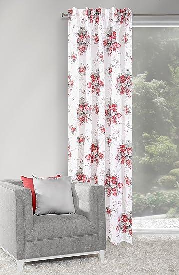 Amazon.de: Dekorativ Vorhang Kräuselband 140x250 cm PLANT weiß + rot ...