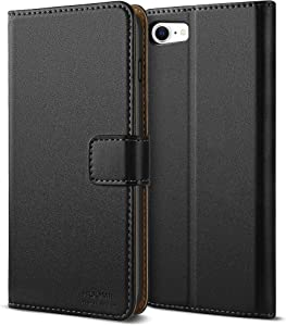 HOOMIL Wallet Case for iPhone SE 2020/8/7, [Classic Business Series] Flip Leather Cover - Black