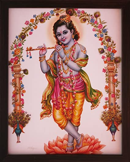 Handicraft Store Lord Krishna Standing In Lotus Flower With Flute A