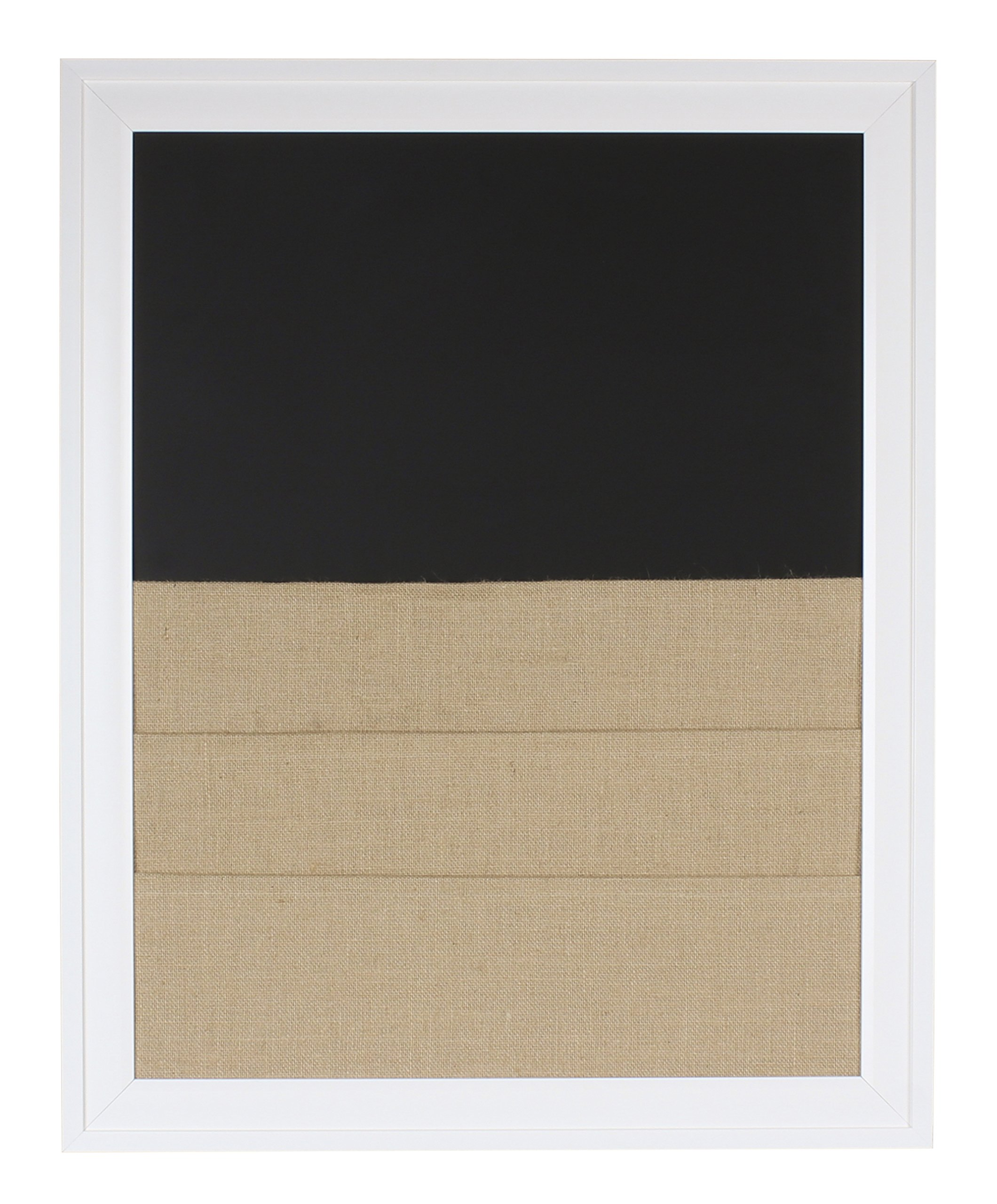 DesignOvation 209403 Bosc Framed Combination Magnetic Chalkboard and Burlap Pockets Wall Board, White by DesignOvation